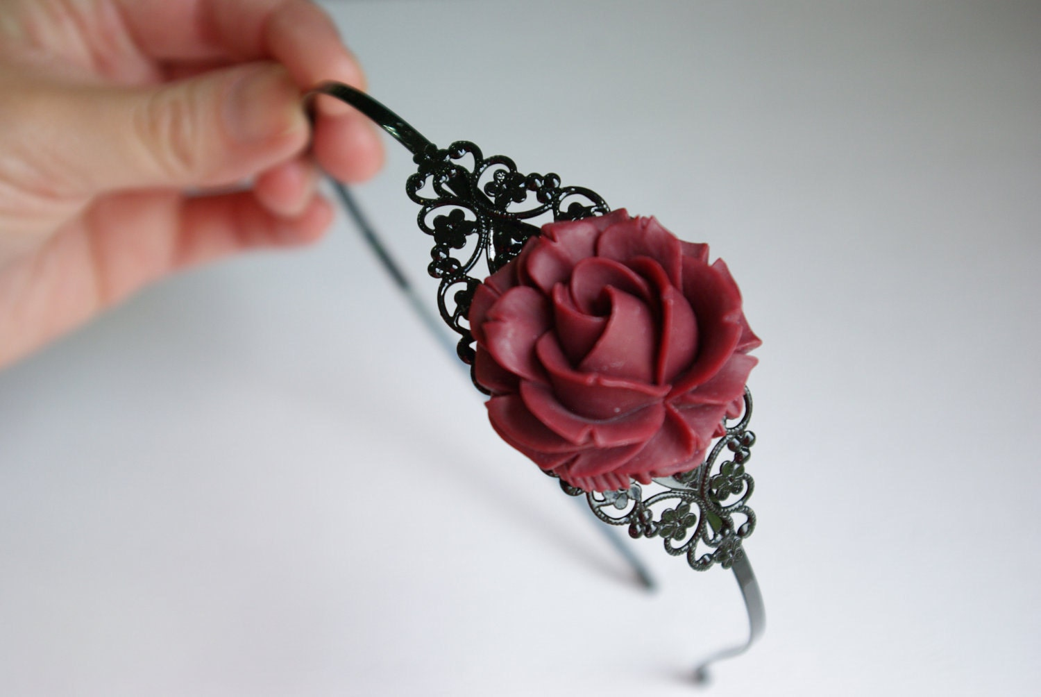 Maroon Rose Flower on Black Headband - Reserved Bethany (RoyalDaughters)