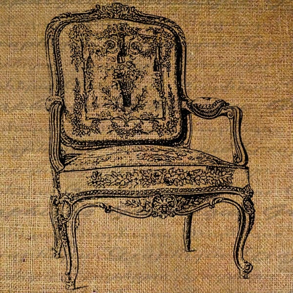 French Ornate Louis Chair Furniture Digital Collage Sheet Download Fabric Transfer Pillows Tote Tea Towels Burlap No. 1568