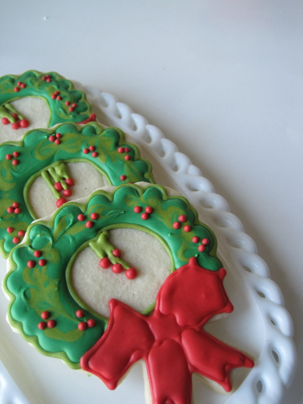 Holiday WREATH sugar cookies - 1 dozen
