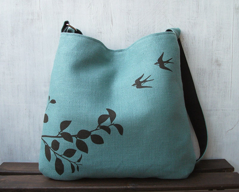 Hemp Tote Bag /  Messenger Bag with Flying Swallows  - Turquoise Blue - Uzura