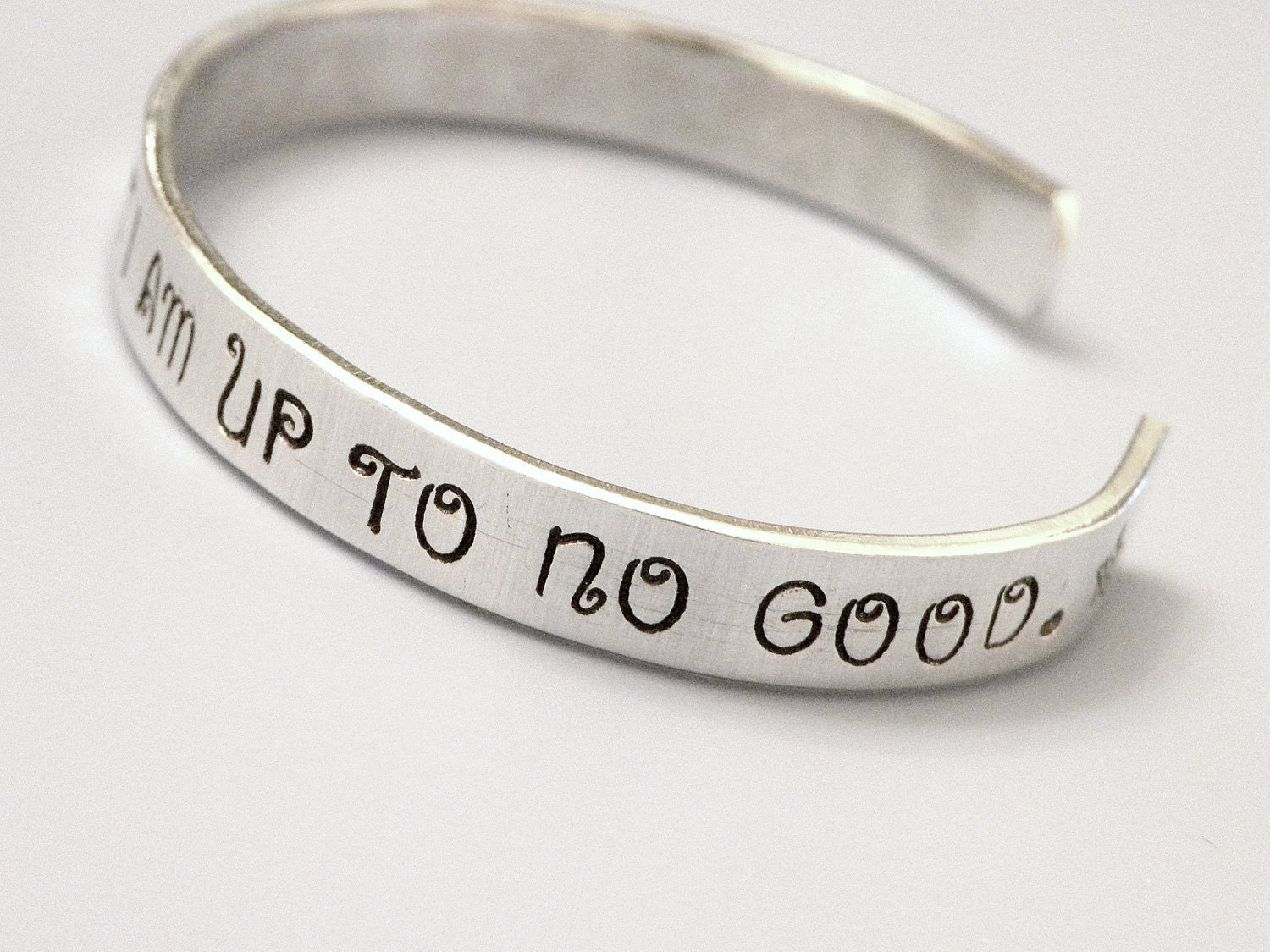 Stamped Harry Potter Solemnly Swear No Good Custom Silver Metal Thin Cuff Bracelet