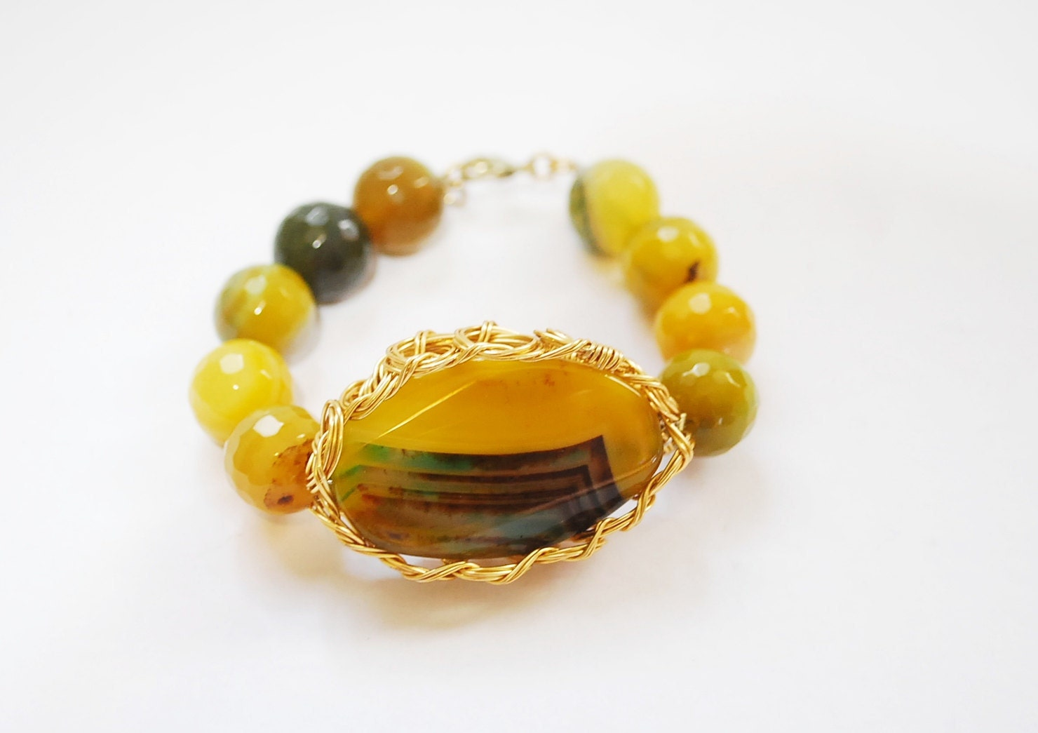 Yellow Agate gemstone wire wrapped bracelet - semi precious stones - fall trend - moonstonejewels