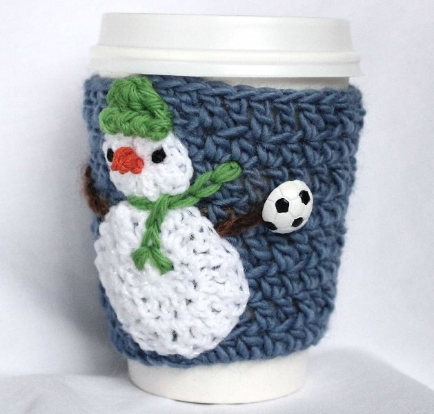 Soccer Snowman  travel mug cup cozy coffee blue crochet