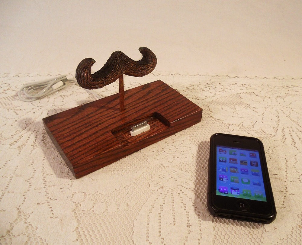 iPhone - iPod Dock - The Great Mustache - Charger and Sync Station - Oak -  Only On Etsy..
