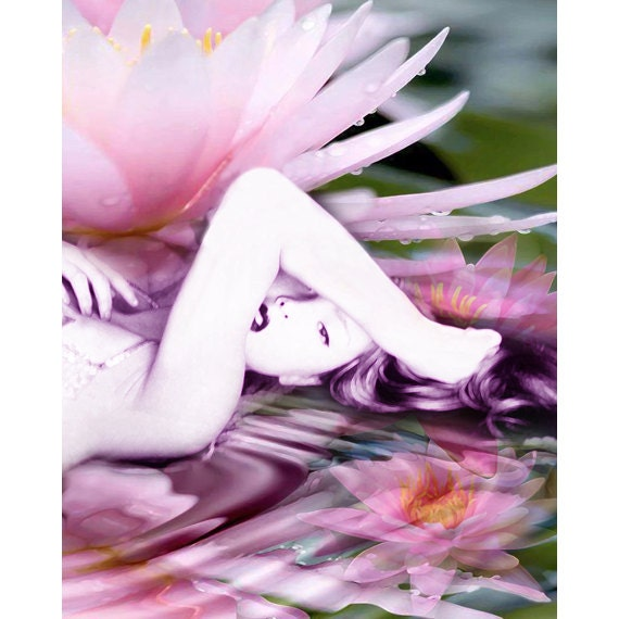 Waterlily Goddess photomontage fine art print pink mauve purple