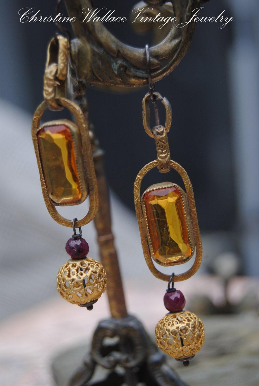 Янтарные капли стекла - Vintage Сборка Art Deco Янтарный рубинового стекла Gemstone Филигрань СЕРЬГИ