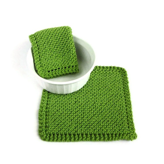 Knit Dishcloths Kiwi Apple Green Kitchen Cleaning - EweniqueEssentials