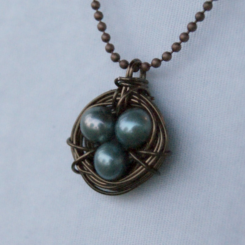 Vintaj Brass Bird Nest Necklace with Blue Freshwater Pearls