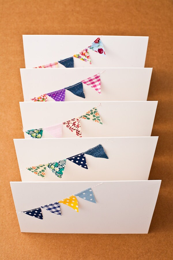Bunting cards - fabric cards - blank