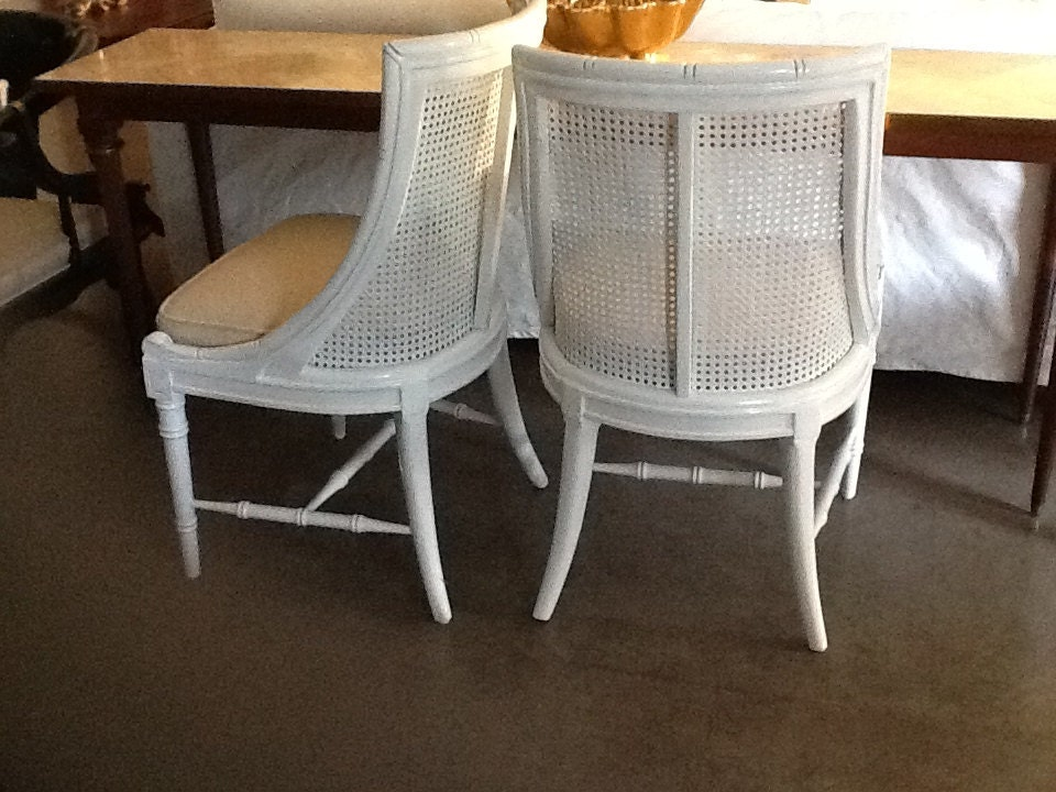 Chairs Faux Bamboo and Cane Pair (2 available)