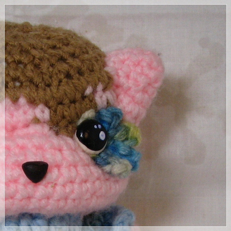 Amigurumi Kitten Chibi Crochet Plush Pink and                   Brown