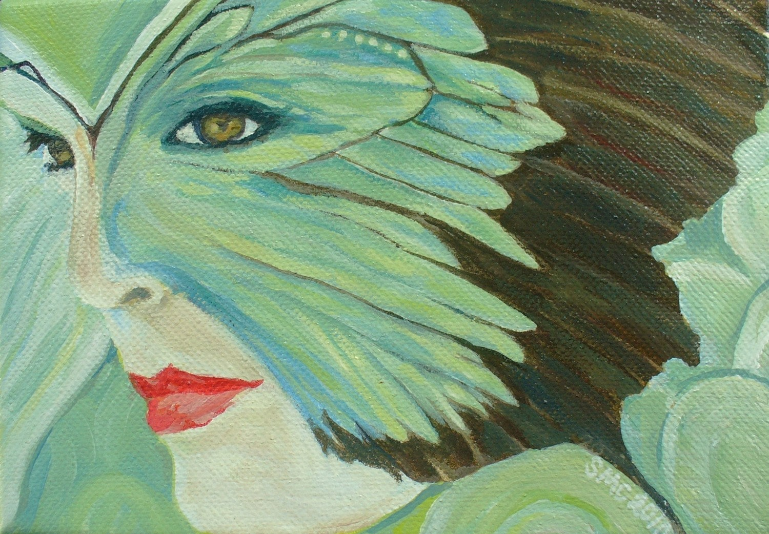 "Notecard- Acrylic Painting of Woman - ""Metamorphosis- Becoming"" Woman Masked in Turquoise"