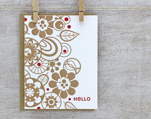 Retro Flower Letterpress Greeting Card Set: Folded Greetings, Leaf Pattern, Hello Typography, Camel Tan Taupe Beige Khaki -3 pack (GRH01)