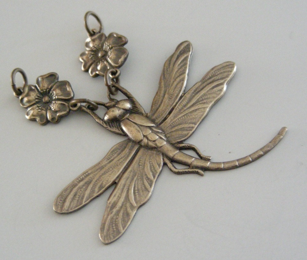 DRAGONFLY PENDANT Vintage Brass Stamping - Large for Necklace - myshangrila