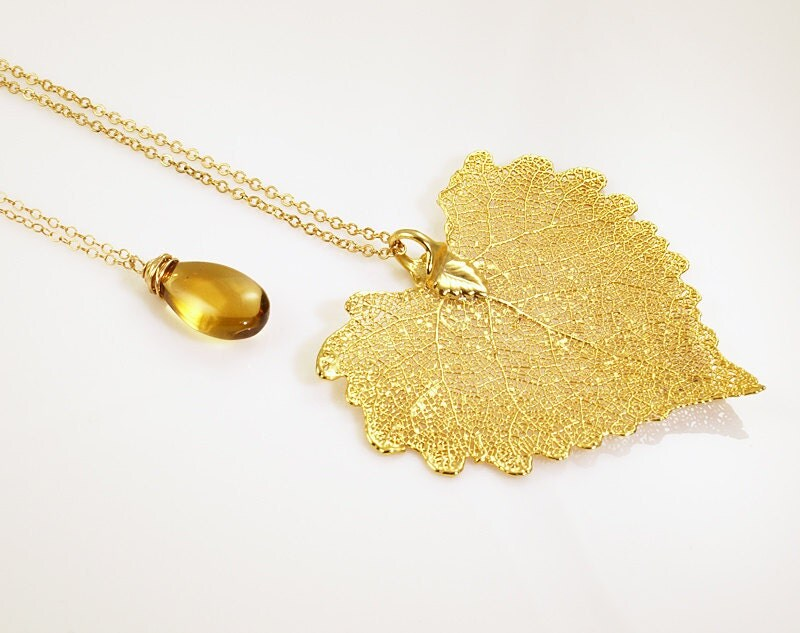 Polished Citrine and 24k Dipped Leaf Necklace Set by missashleylu from etsy.com