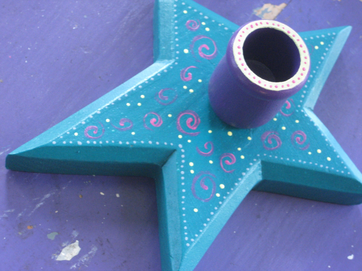 Christmas Star Candle Holder - Teal and Purple - Whimsical Upcycled Folk Art