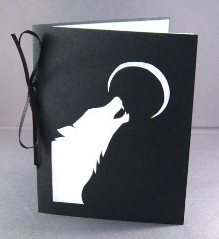 Howling Wolf Silhouette Cut Paper Greeting card - arwendesigns