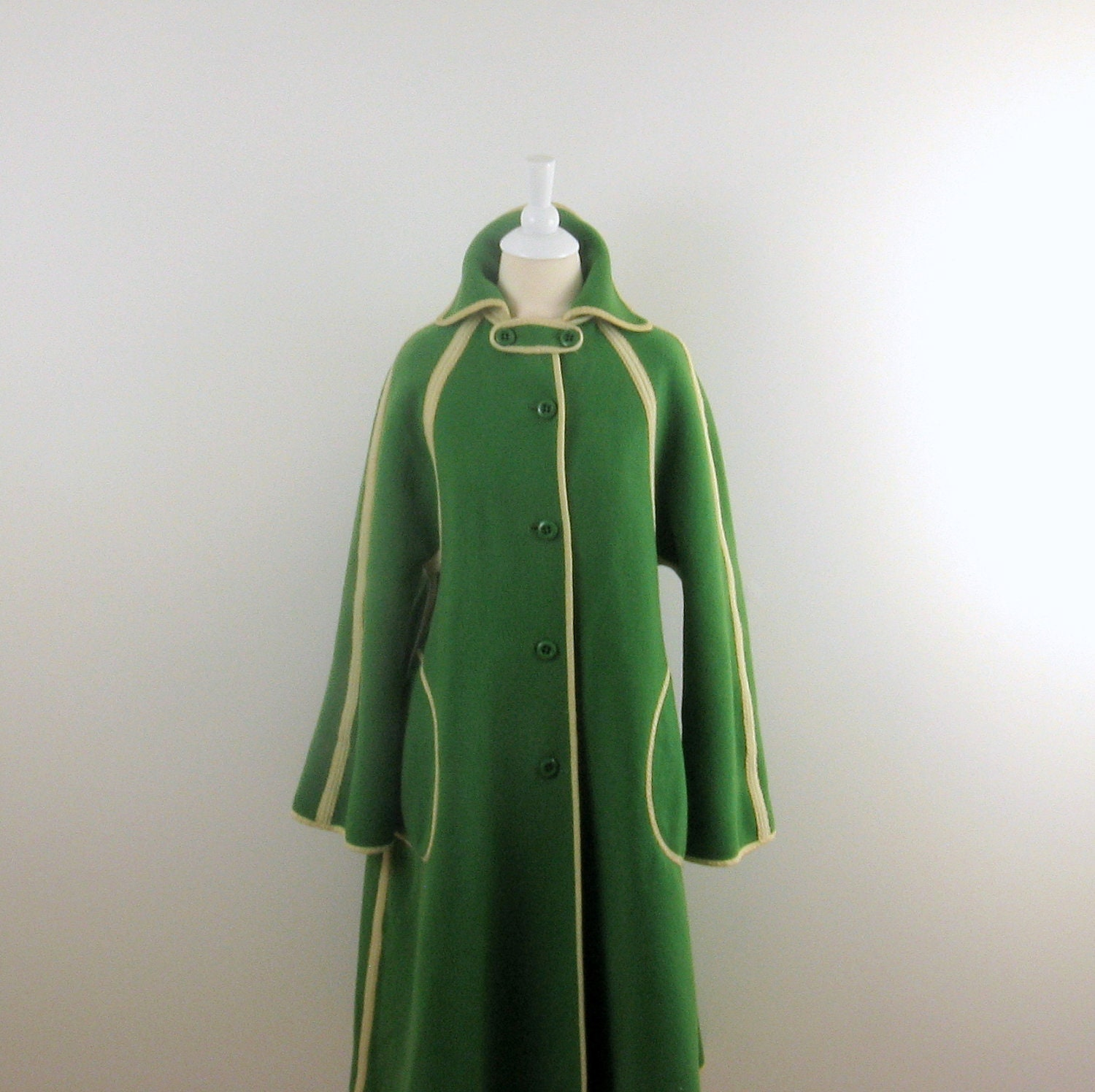 Vintage Winter Coat - 1970s Wool in Apple Green - Reversible - Medium by Wetherall