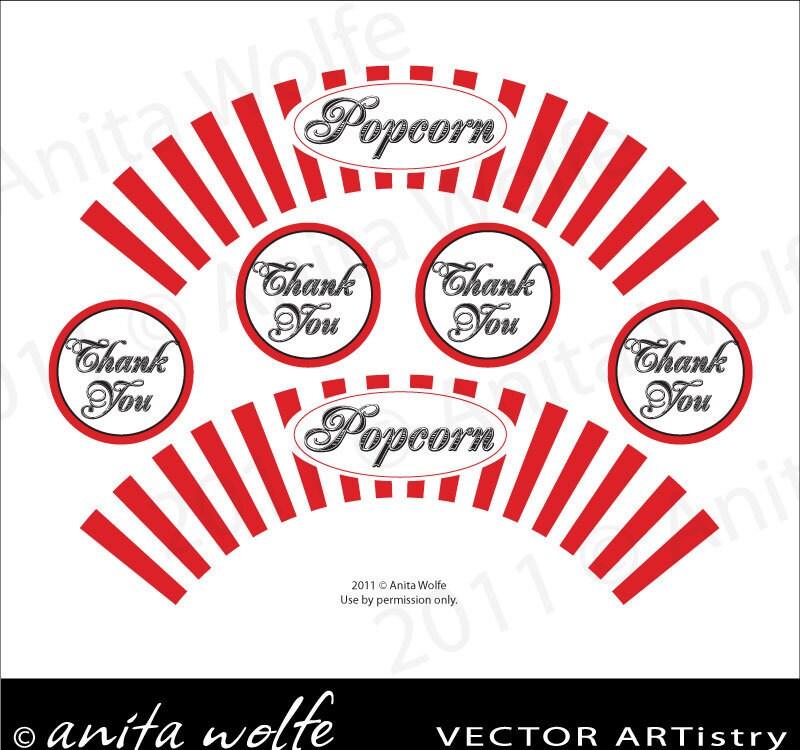 Pin Popcorn Cupcake Wrapper Template on Pinterest