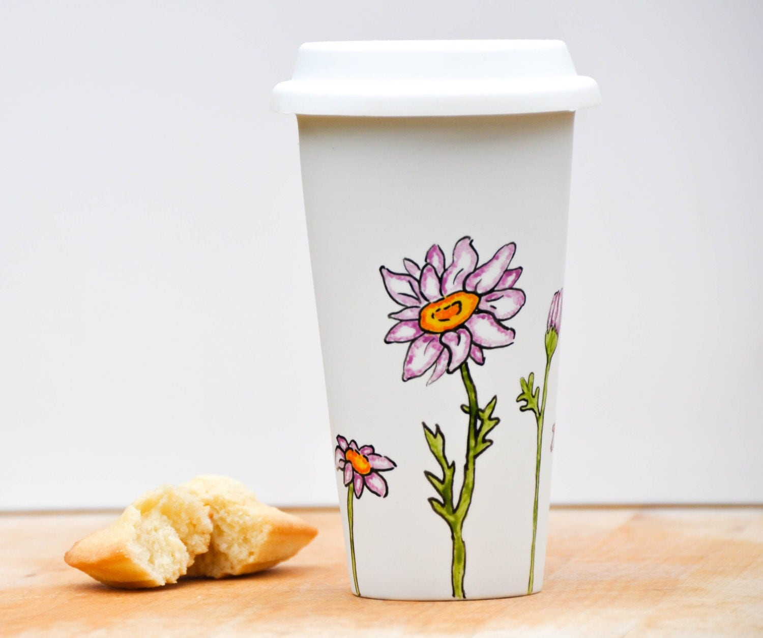 Hand Painted Ceramic Travel Mug Eco-Cup - Made to Order - Purple and White - Daisies Silicon Lid