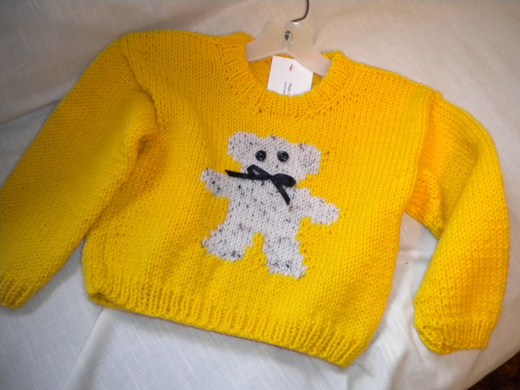 Hand Knit Teddy Bear Pullover Sweater in School Bus Yellow Size 4 - themagicneedles