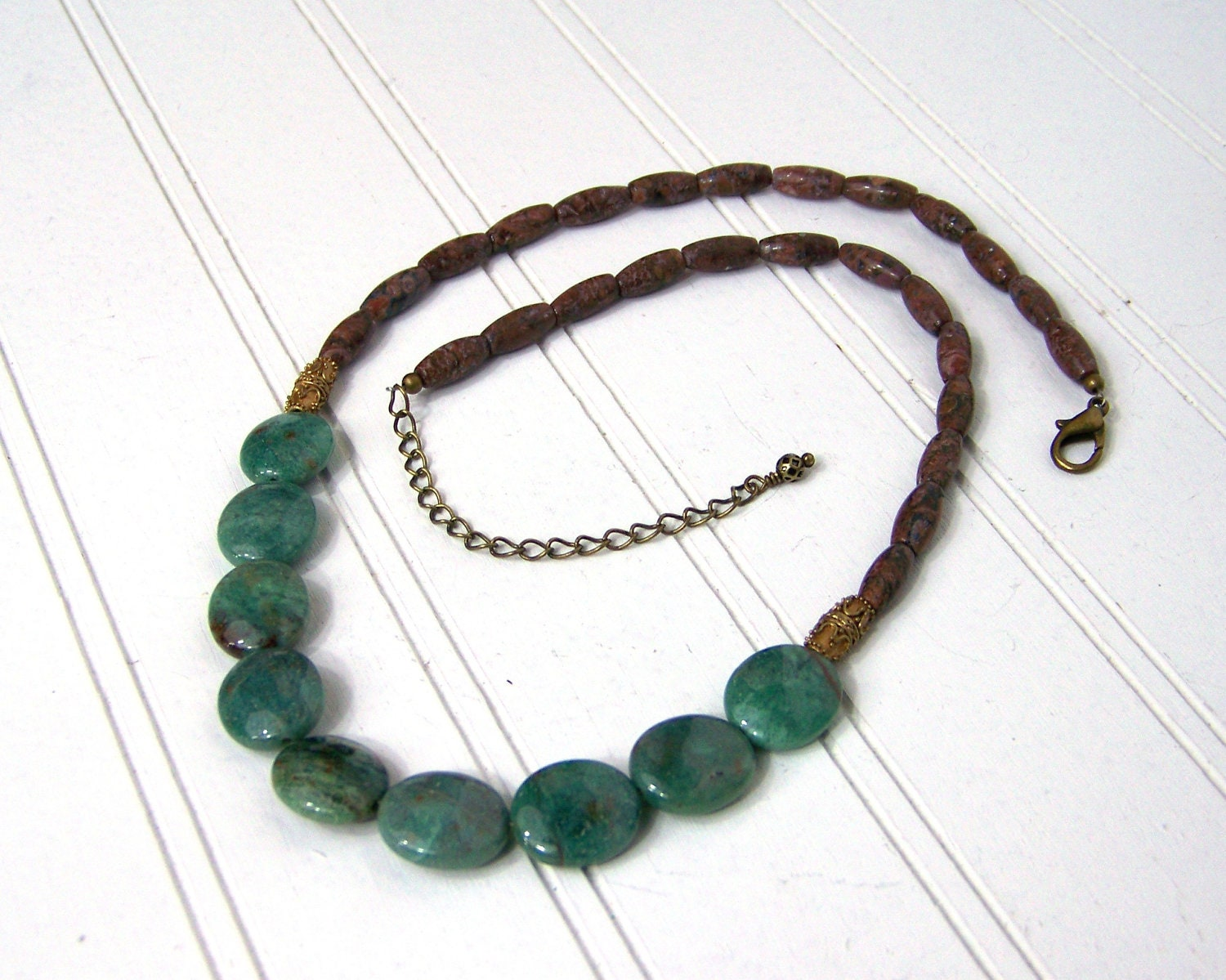 Beaded Gemstone necklace, Lush african jade and leopardskin jasper, gold brass finishes - NobleEarthJewelry
