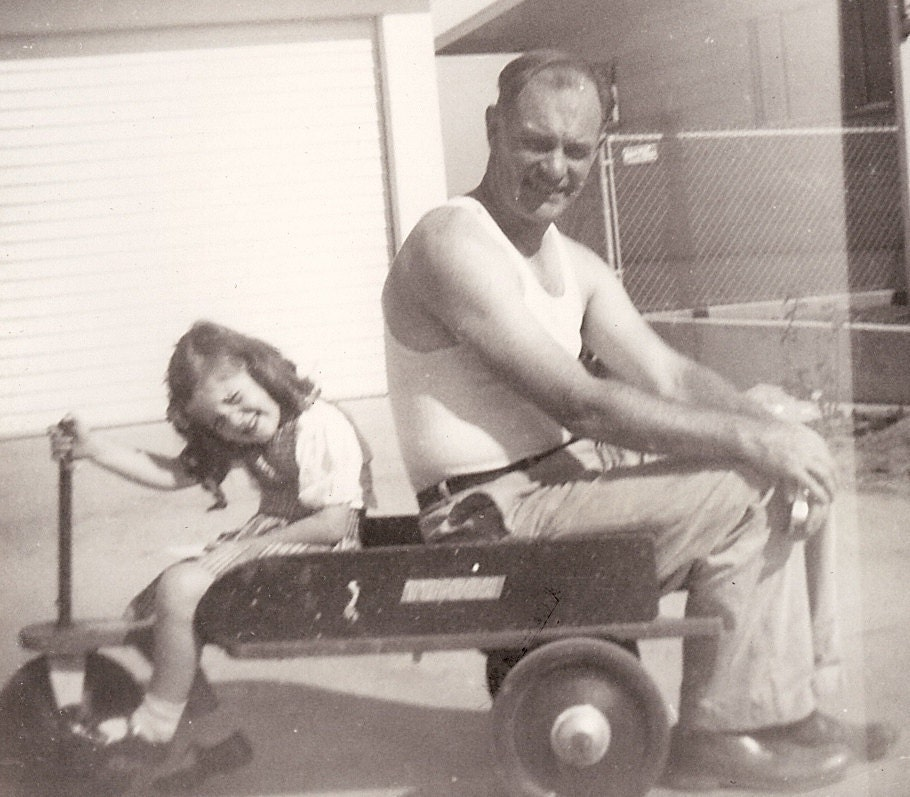 Vintage Photo - Daddy and His Little Girl Sitting on a Little Red Wagon - circa 1940s
