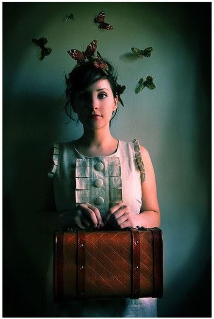 Girl with Suitcase Portrait, The Escape Artist, Fairytale ButterfliesPhoto, Rich Teal, Female Figure - ellemoss