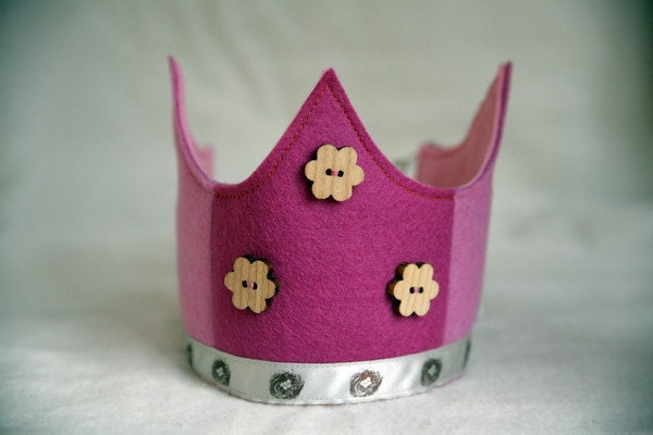 SALE Wool Felt Crown - Pink Nests and Flowers