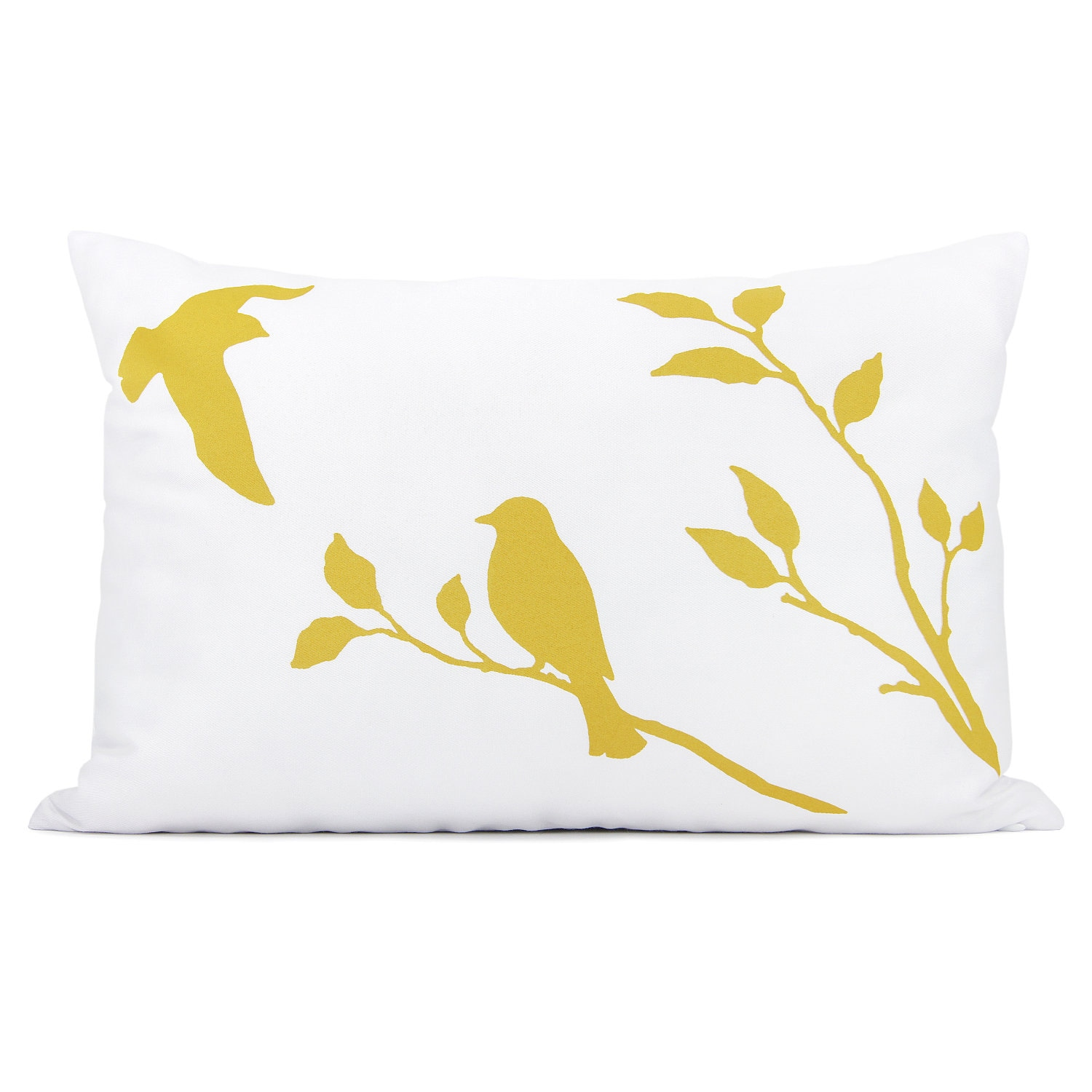 Love birds pillow cover - Mustard yellow bird in nature print on white fabric decorative pillow cover - 12x18 lumbar pillow cover - ClassicByNature