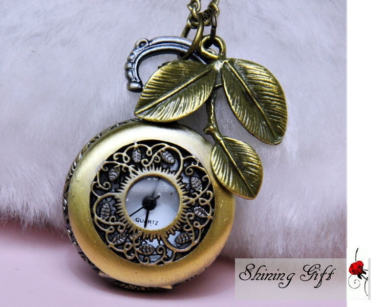 Antique Pocket Watch Necklace, curved Leaf