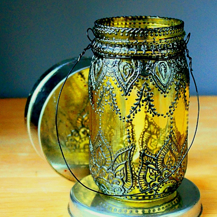 Ручная роспись Мейсон Jar фонарь, лимон Тонированные стекла с черными вставками