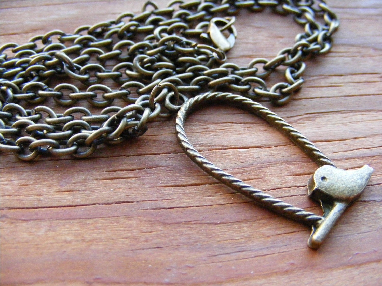 Necklace Bronze Let the Caged Bird Fly