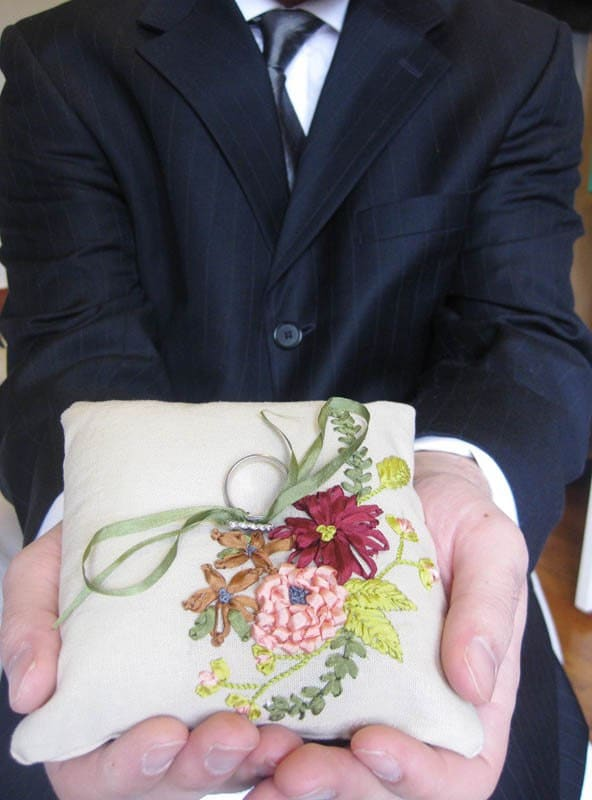 CUSTOM ring pillow, ribbon embroidered flowers and foliage