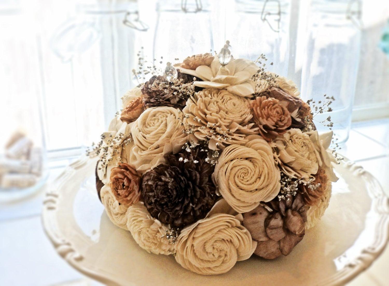 Beautiful Flower Cake Topper- Elegant Rustic Vintage Fall Wedding Sola Wood Flower Alternative