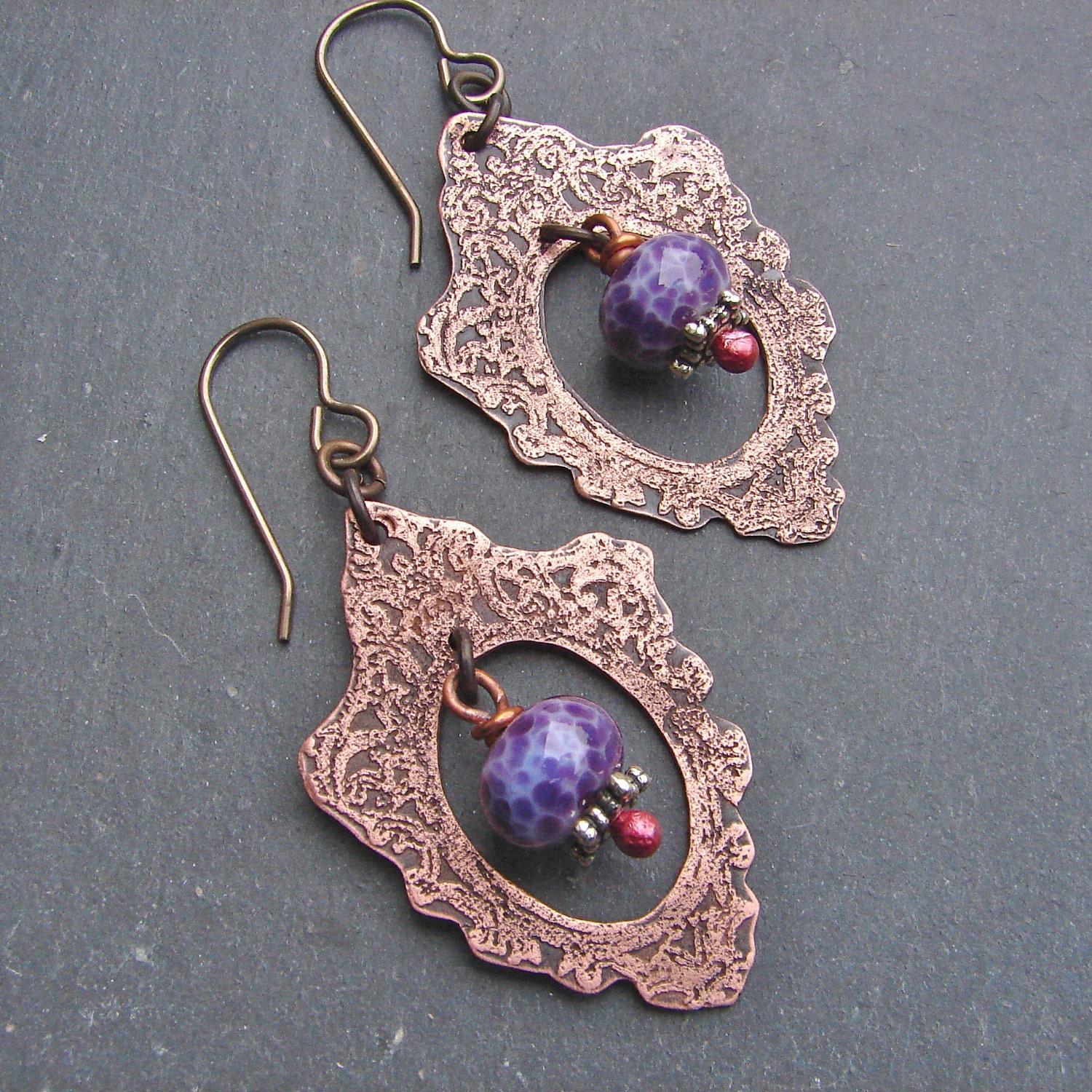 Purple Picture Frame Earrings - Copper and Glass - ForMySweetDaughter