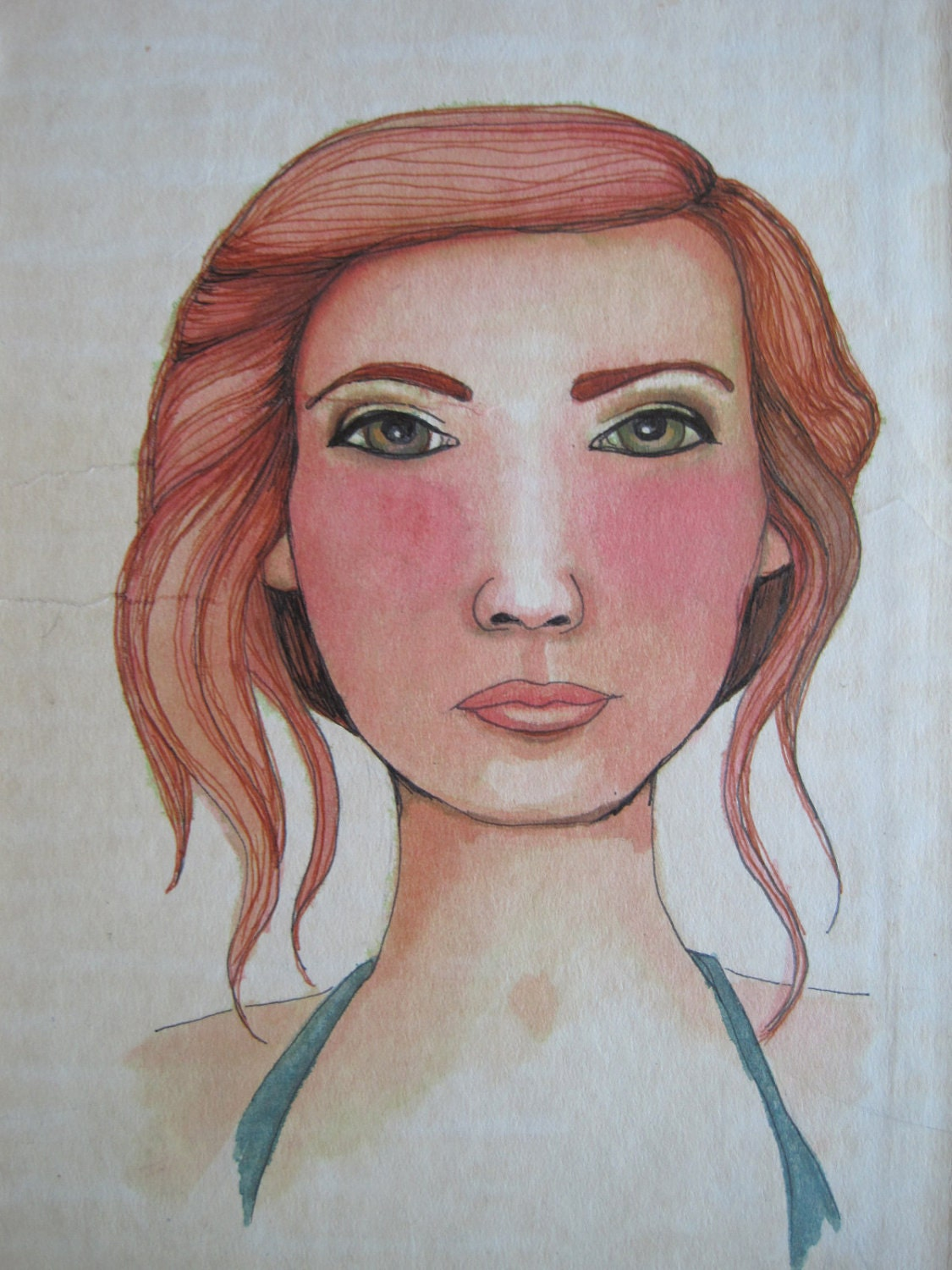 Original Art Painting Portrait of a Redhead pretty girl on Vintage Book Cover