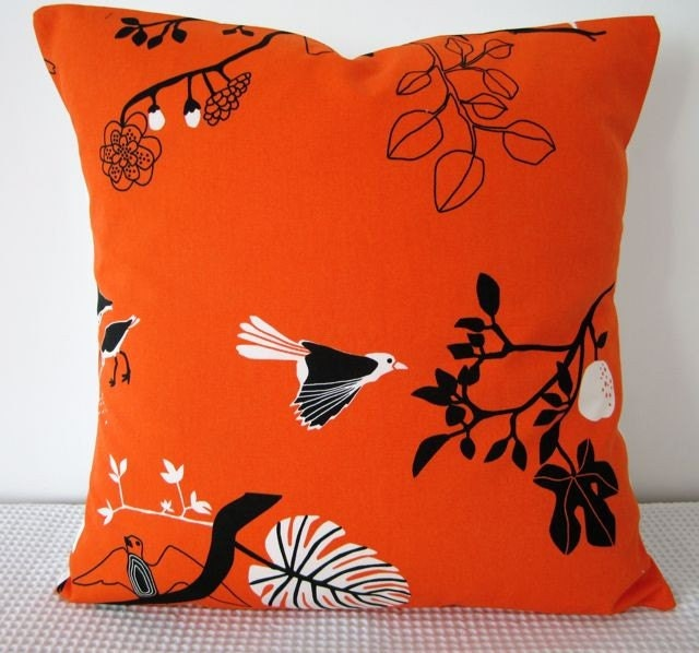 Orange, black and white bird and tree motif Cushion Cover, slip cover, throw pillow, decorative cushion, accent pillow - miaandstitch