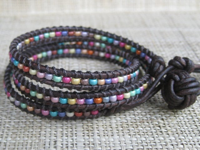 Confetti 3X Leather Wrap Bracelet