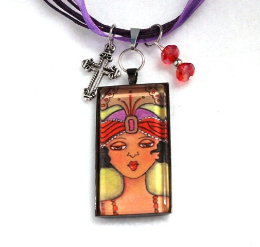 Art Deco Pendant Necklace, African American Girl Art, 1920s Jewelry, Flapper, Josephine Baker, Ribbon or Black Cord Necklace With Gift Box - maryannfarley