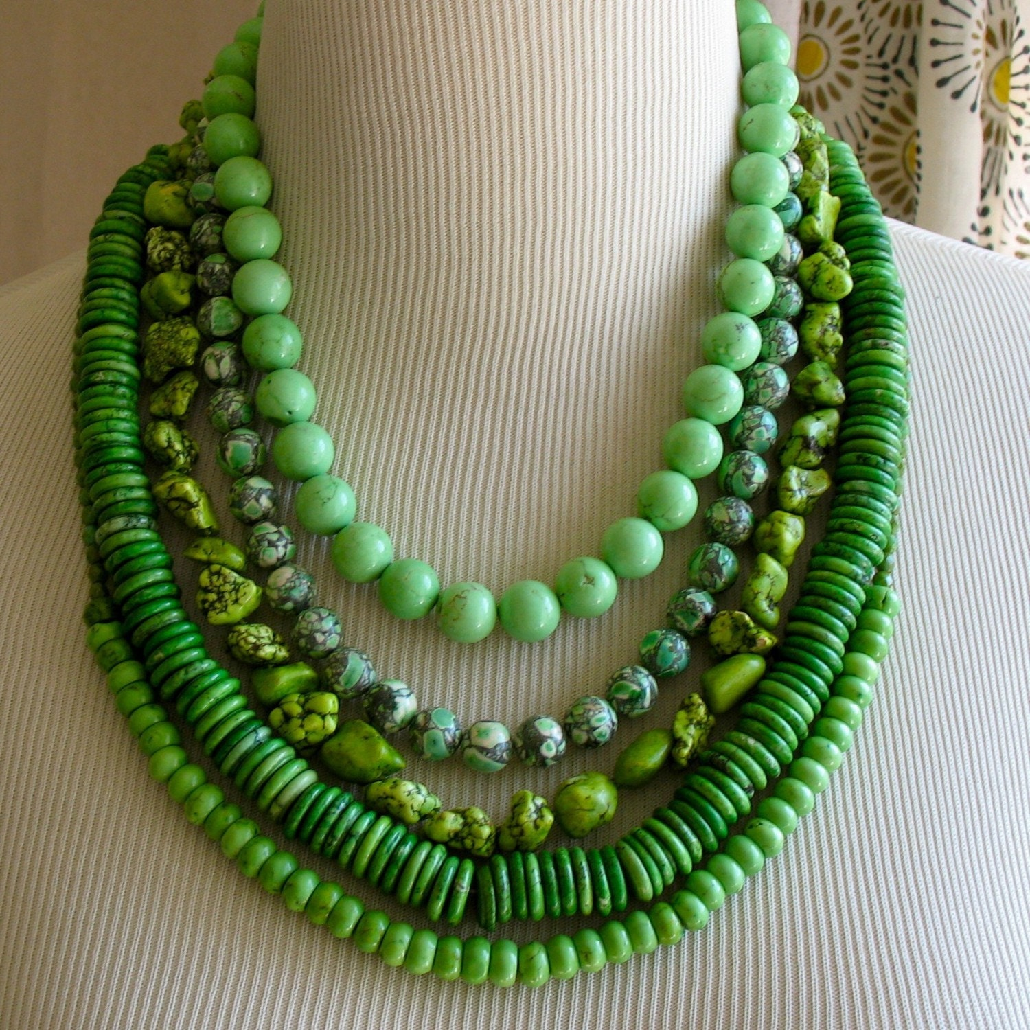 Bright Green layered Multi Strand New Grass Necklace
