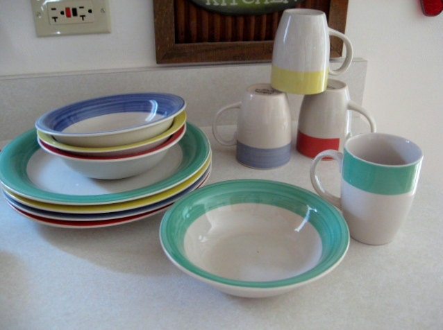 Sunbeam Stoneware Rainbow Band Dish Set