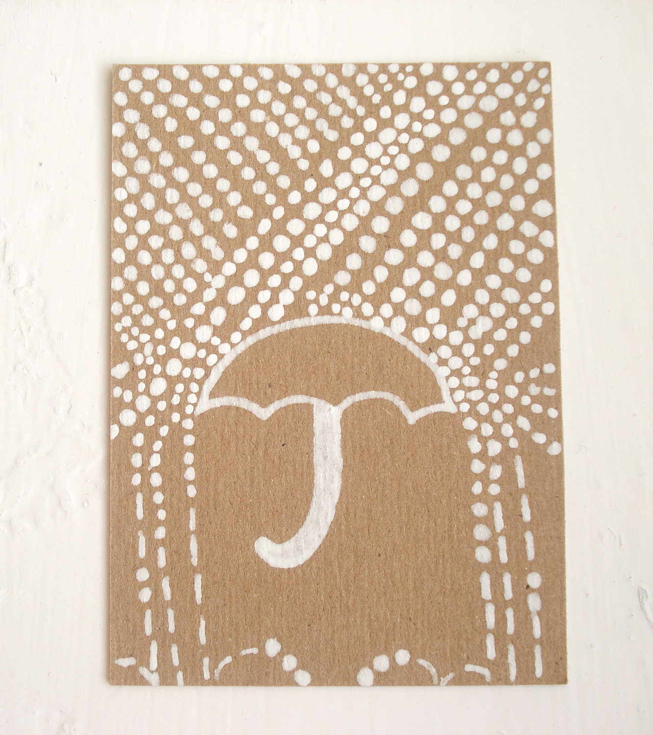 Illustrated ACEO on Kraft Card - Snowing