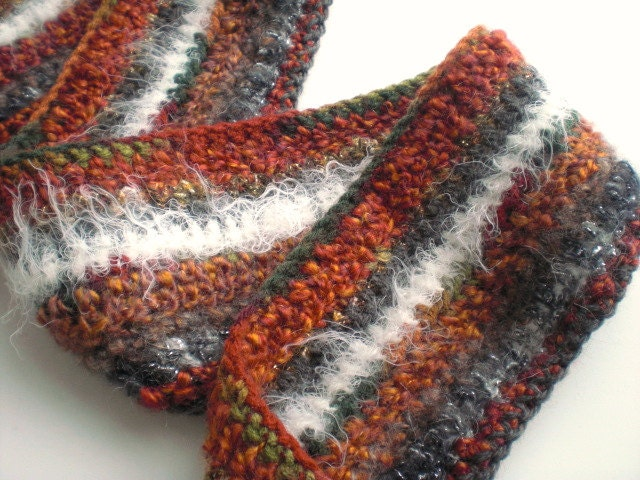 Hand crocheted boho scarf / autumn color / white / gray / rusty brick red / tattered Gypsy chic / multi color fiber / long fringe / OOAK - MaybeTheWhiteDog