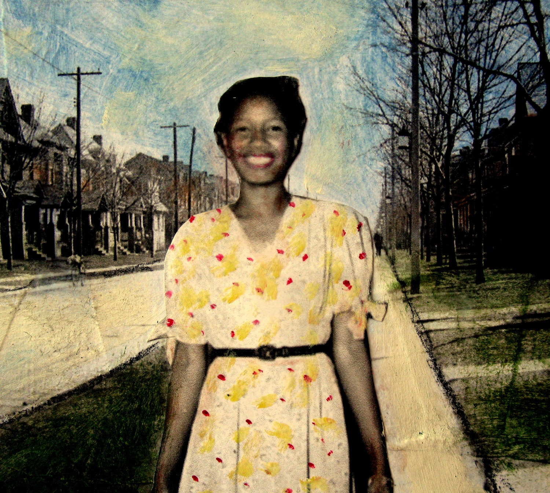 Mattie's Joy original African American vintage woman painting cityscape - MaudstarrArt