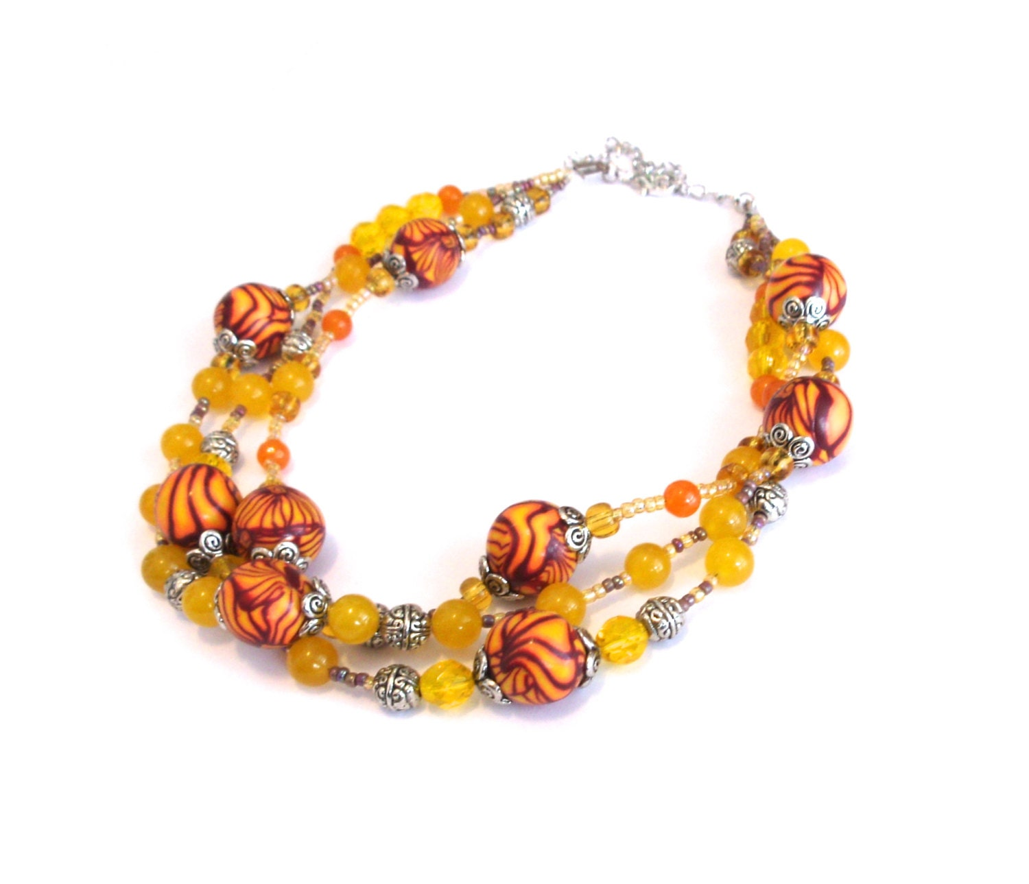 Summertime bliss handmade three stranded necklace in shades of yellow, orange, and red with handmade polymer clay beads - Sallybateau