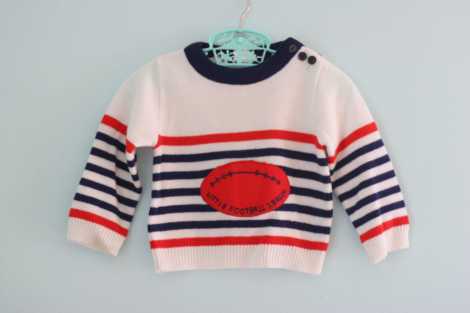 Vintage Baby Boy Football Sweater 12-18mo - toadstoolvintage