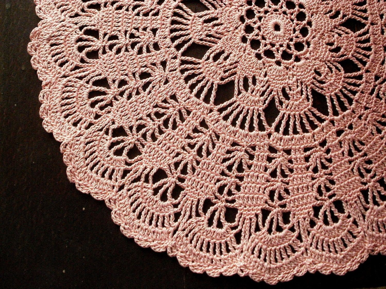 Pink crochet doily shabby chic