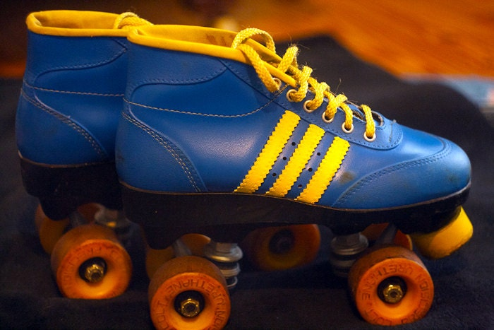 Vintage Retro Blue Leather Roller Derby Speed Roller Skates Size 7