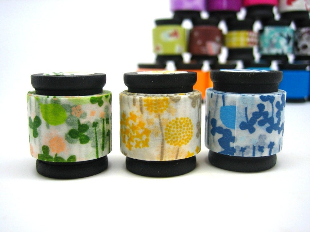 Washi Masking Tape Trio -  Flower Garden (5 feet each, 15 feet total)